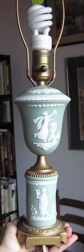green jasperware lamp