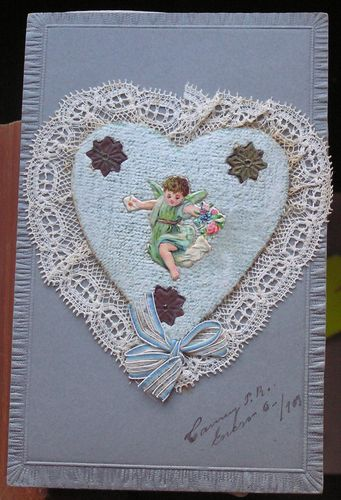 antique embroidered Valentines card